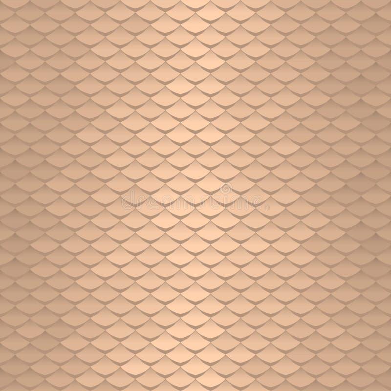 Naadloos schaalpatroon De abstracte achtergrond van daktegels Gouden squamatextuur royalty-vrije illustratie