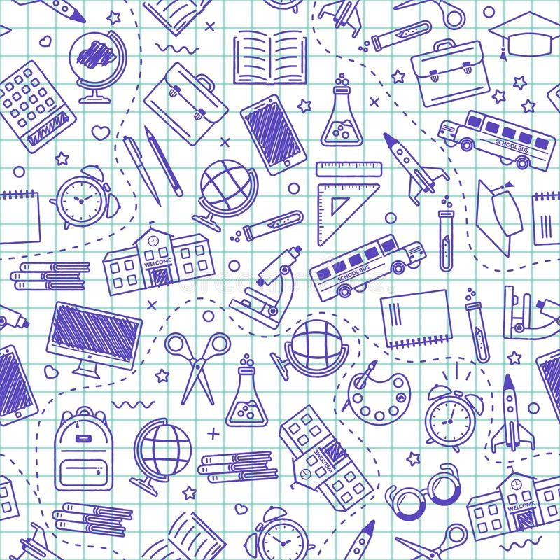 Naadloos schoolpatroon Terug naar School Blauwe pictogrammen voor onderwijs op witte achtergrond royalty-vrije illustratie