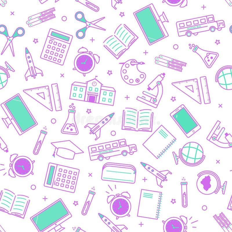 Naadloos schoolpatroon Terug naar School pictogrammen voor onderwijs op witte achtergrond stock illustratie