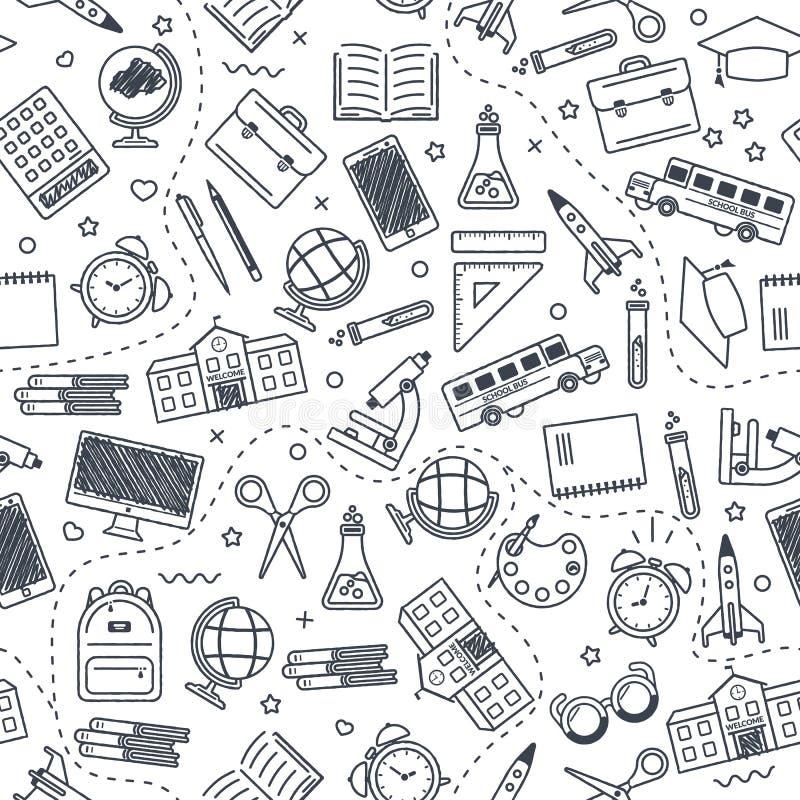 Naadloos schoolpatroon Terug naar School Zwarte pictogrammen voor onderwijs op witte achtergrond vector illustratie
