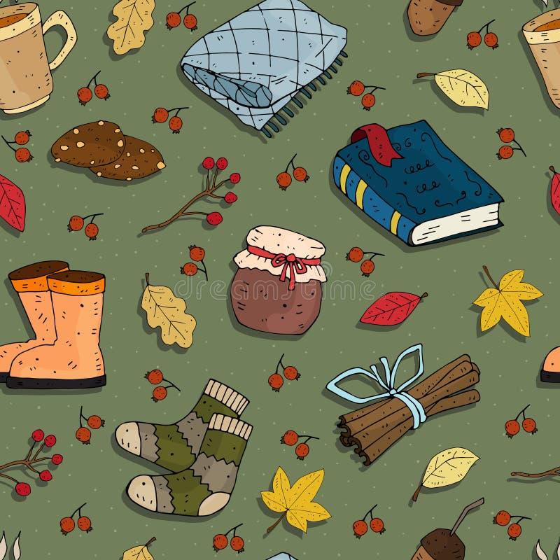 Naadloos seizoengebonden de herfst vectorpatroon met themaelementen op een neutrale achtergrond vector illustratie