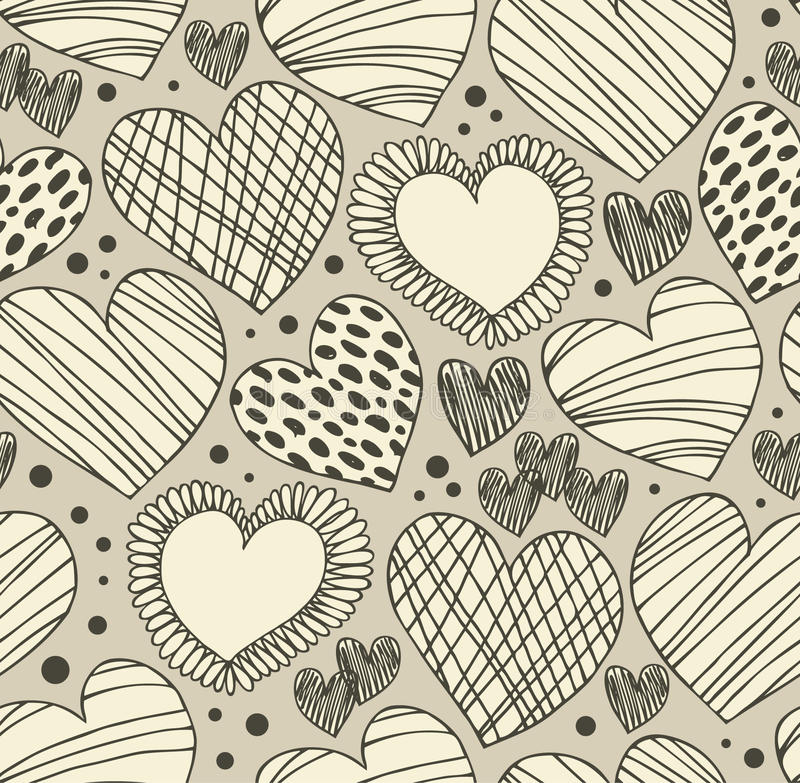Naadloos sierpatroon met harten Eindeloze hand getrokken leuke achtergrond Overladen textuur met vele details royalty-vrije illustratie