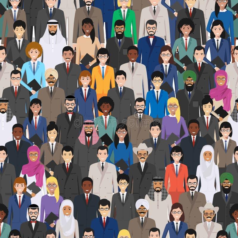 Naadloos sociaal patroon, concept van het groepswerk en het commerciële team mensenmededeling in vlakke stijl Groep zakenlieden stock illustratie