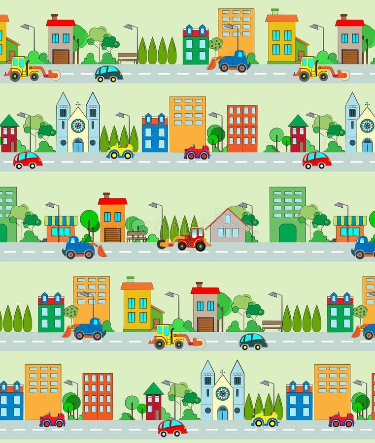 Naadloos stadspatroon stock illustratie