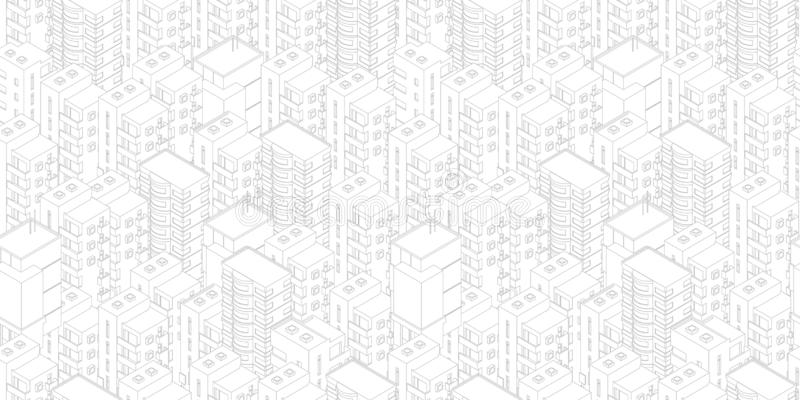 Naadloos stadspatroon De witte lichte achtergrond van gebouwendaken Isometrische hoogste mening Vectorillustratievoorraad Grijs l stock illustratie