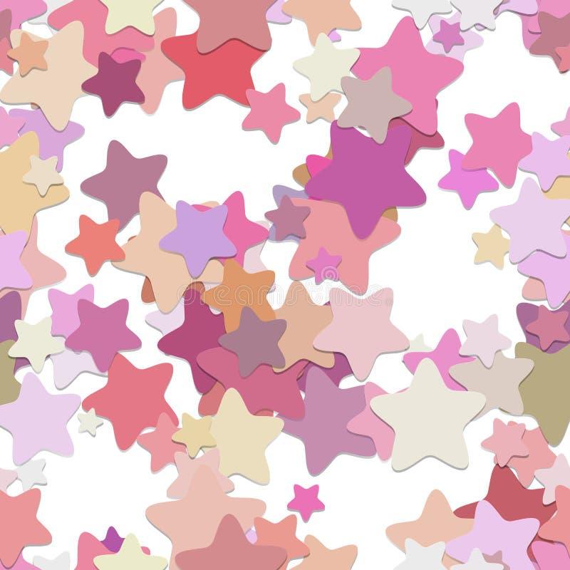 Naadloos sterpatroon als achtergrond - vectorontwerp van rond gemaakte pentagram sterren in kleurrijke tonen met schaduweffect stock illustratie
