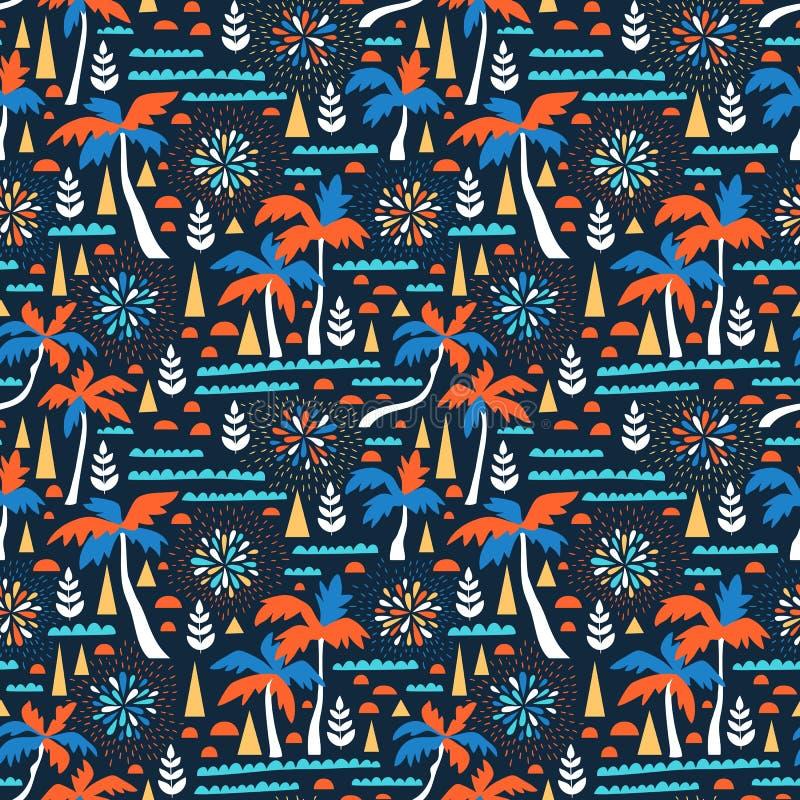 Naadloos strand vectorpatroon met vuurwerk, palmen en golven Vector Hawaiiaanse achtergrond Stoffenontwerp royalty-vrije illustratie