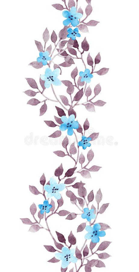 Naadloos streepkader - hand geschilderde watercolour bladeren en ditsy bloemen Herhaald patroon vector illustratie