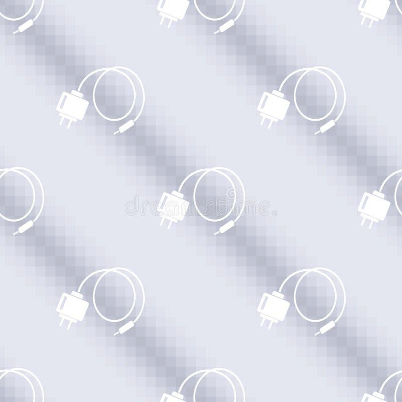 Naadloos technologie vectorpatroon, symmetrische achtergrond met pictogrammen van batterijen over lichtblauwe achtergrond stock illustratie