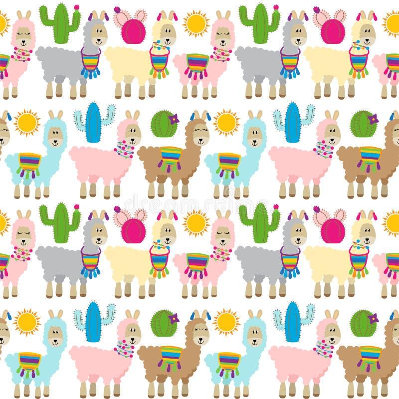 Naadloos, Tileable-Lama en Cactuspatroon stock illustratie