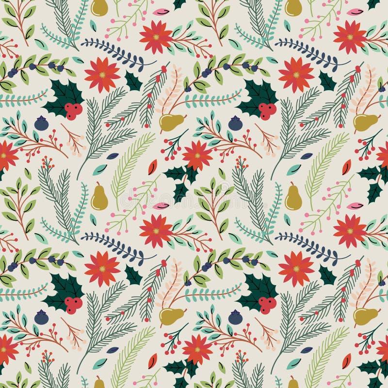 Naadloos Tileable-van de Kerstmisvakantie Bloemenpatroon Als achtergrond royalty-vrije illustratie