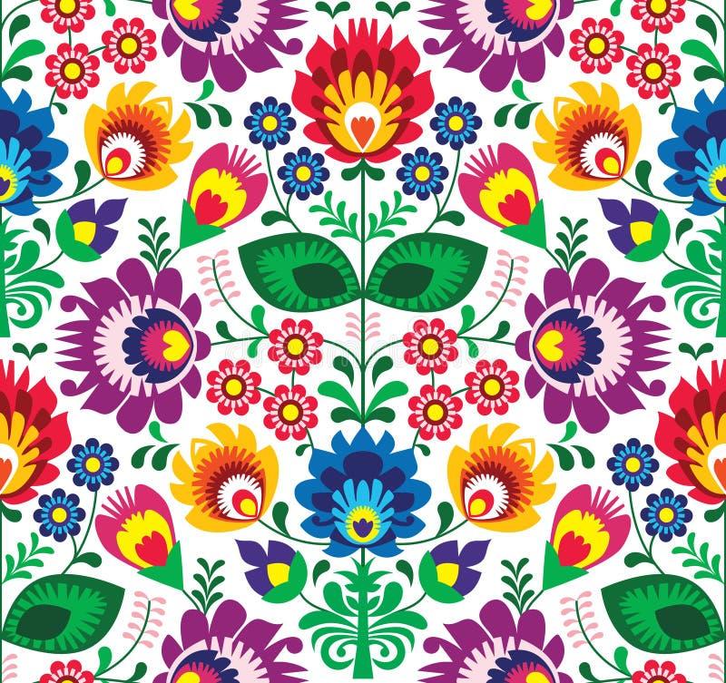 Naadloos traditioneel bloemenpoetsmiddelpatroon - etnische achtergrond stock illustratie