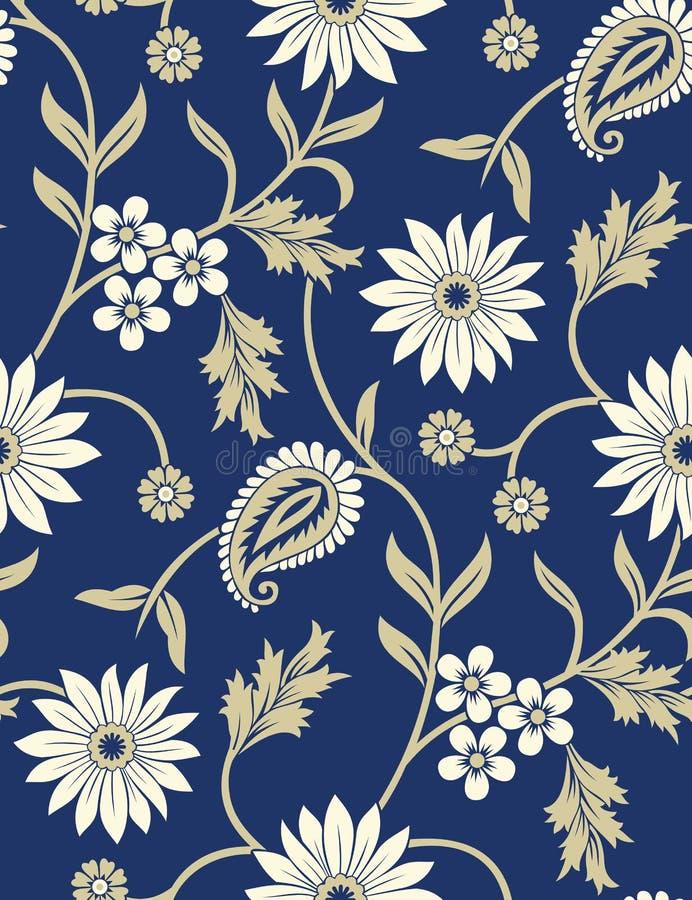 Naadloos traditioneel Indisch Paisley met bloemenpatroon vector illustratie