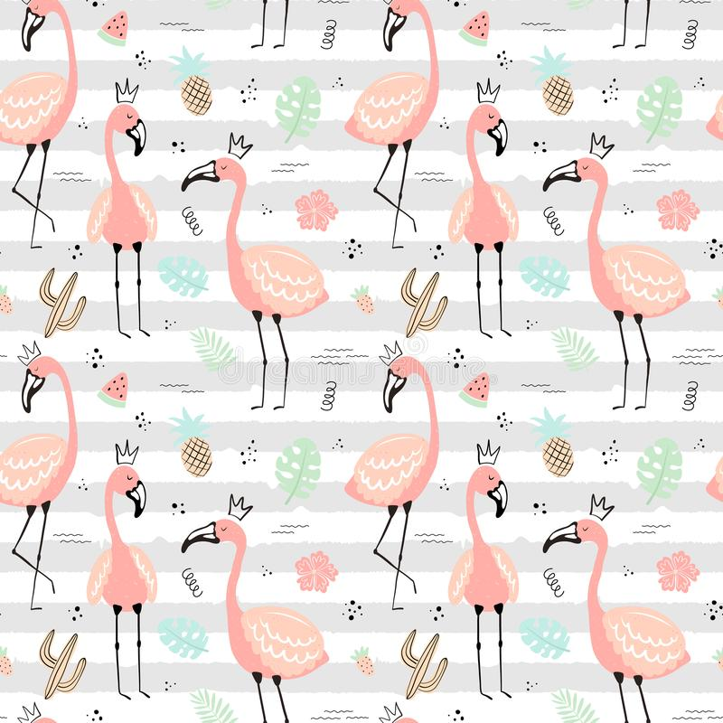 Naadloos tropisch gestreept patroon met roze flamingo's in de kroon, bladeren, fruit, cactus Vector de zomer hand-drawn illustrat stock illustratie