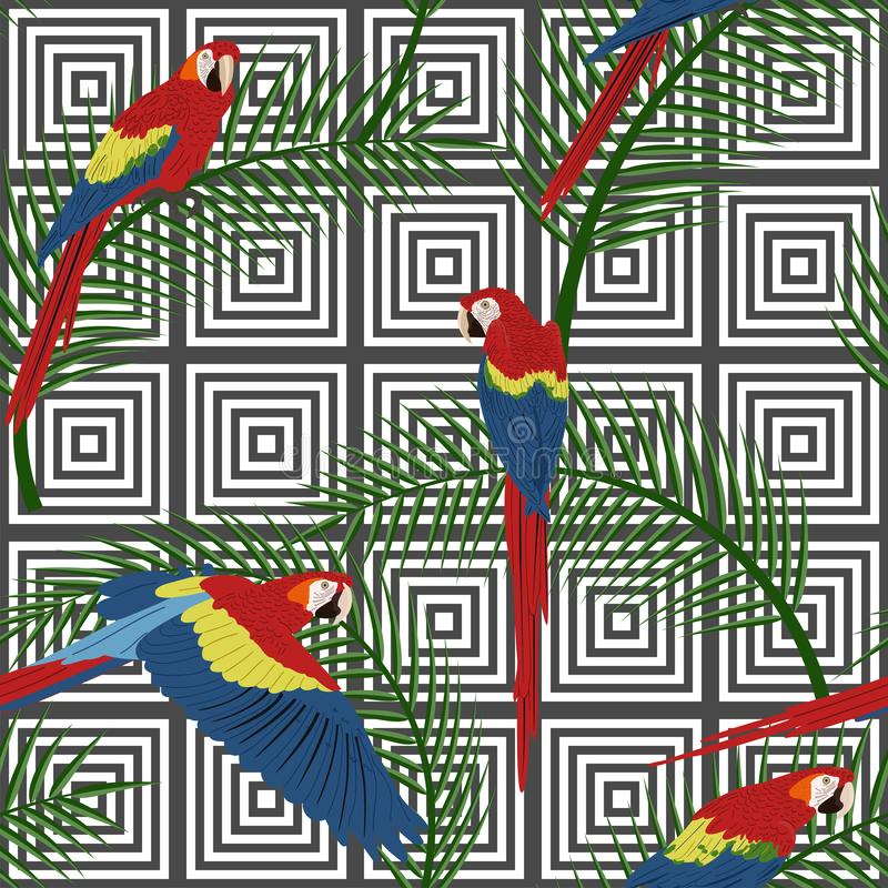 Naadloos tropisch patroon met abstracte geometrische achtergrond stock illustratie