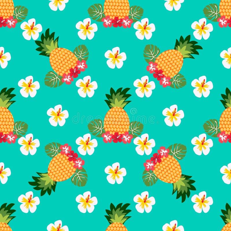 Naadloos tropisch patroon met ananassen Kan voor textiel, het behandelen, stof, het verpakken worden gebruikt vector illustratie