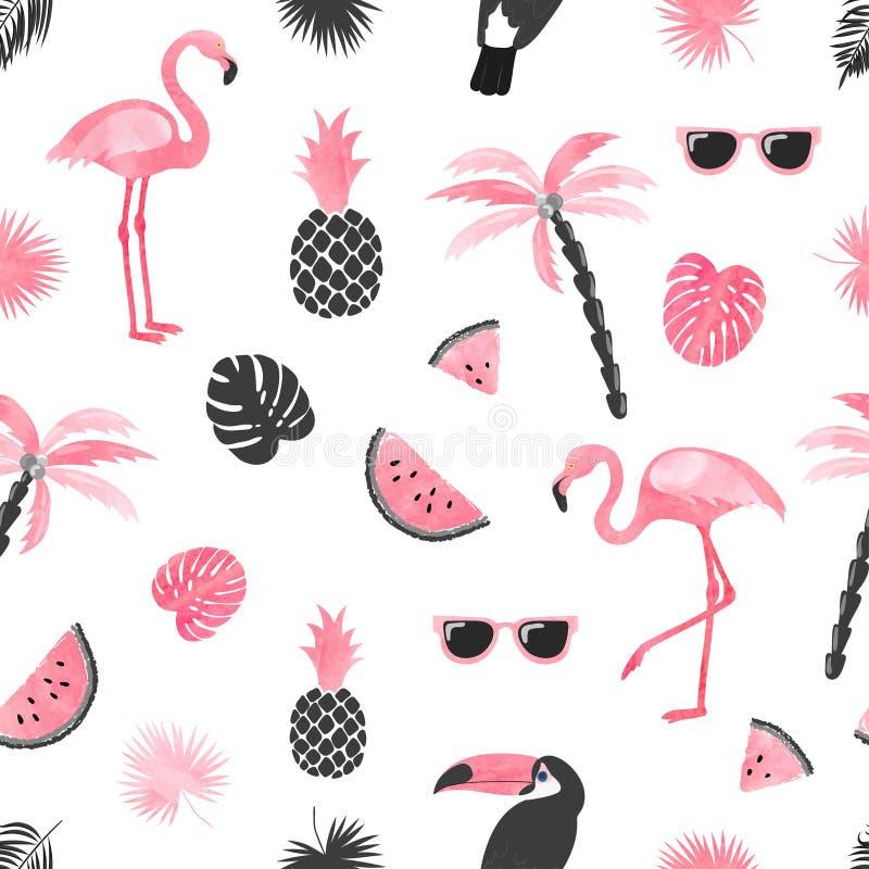 Naadloos tropisch in patroon met waterverfflamingo, watermeloenplakken en palmbladen vector illustratie