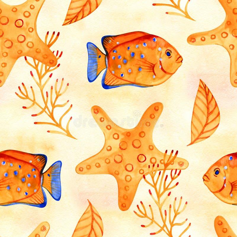 Naadloos tropisch patroon Waterverfillustratie met hand getrokken aquarium exotische vissen op witte achtergrond Blauwe reeks stock foto
