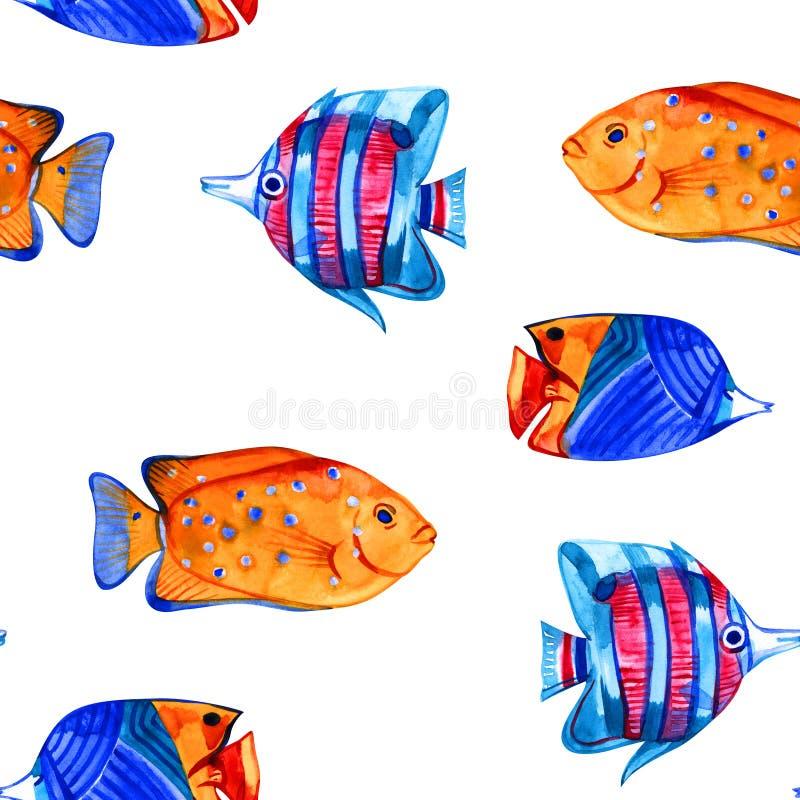 Naadloos tropisch patroon Waterverfillustratie met hand getrokken aquarium exotische vissen op witte achtergrond Blauwe reeks vector illustratie
