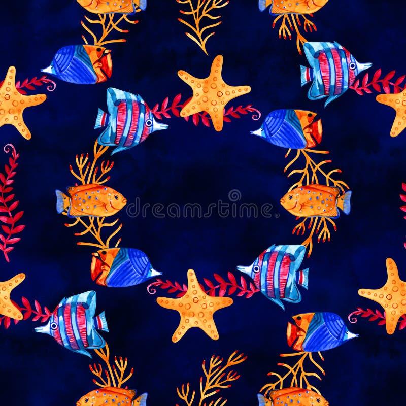 Naadloos tropisch patroon Waterverfillustratie met hand getrokken aquarium exotische vissen op witte achtergrond Blauwe reeks stock illustratie