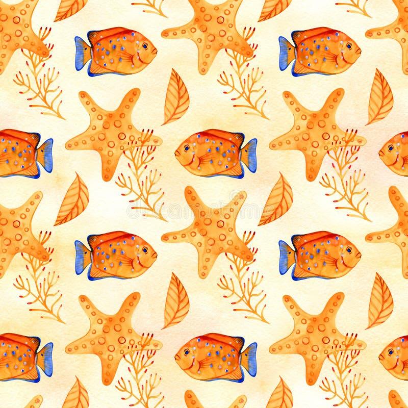 Naadloos tropisch patroon Waterverfillustratie met hand getrokken aquarium exotische vissen op witte achtergrond Blauwe reeks royalty-vrije illustratie