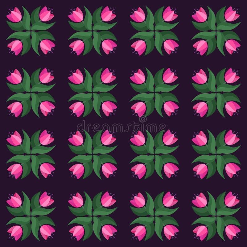 Naadloos tulpen uitstekend violet vectorpatroon stock illustratie
