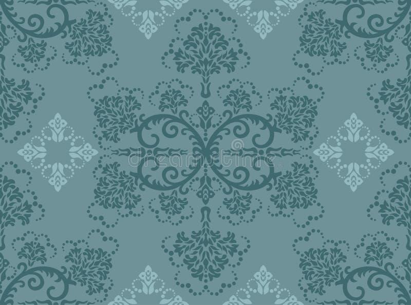 Naadloos turkoois bloemenbehang royalty-vrije illustratie