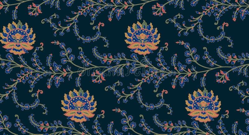 Naadloos uitstekend bloemenontwerppatroon stock illustratie