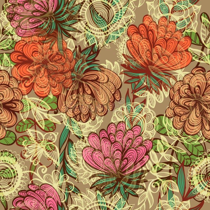 Naadloos uitstekend bloemenpatroon stock illustratie