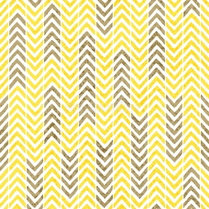 Naadloos uitstekend chevronpatroon De textuur van Grunge Grijze, gele a vector illustratie