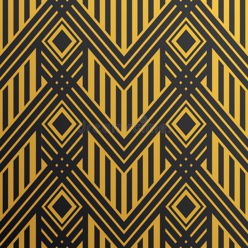Naadloos uitstekend het behangpatroon van Art Deco Geometrisch vectorde vector illustratie