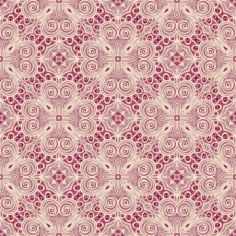 Naadloos Uitstekend Kantpatroon (Vector) royalty-vrije illustratie