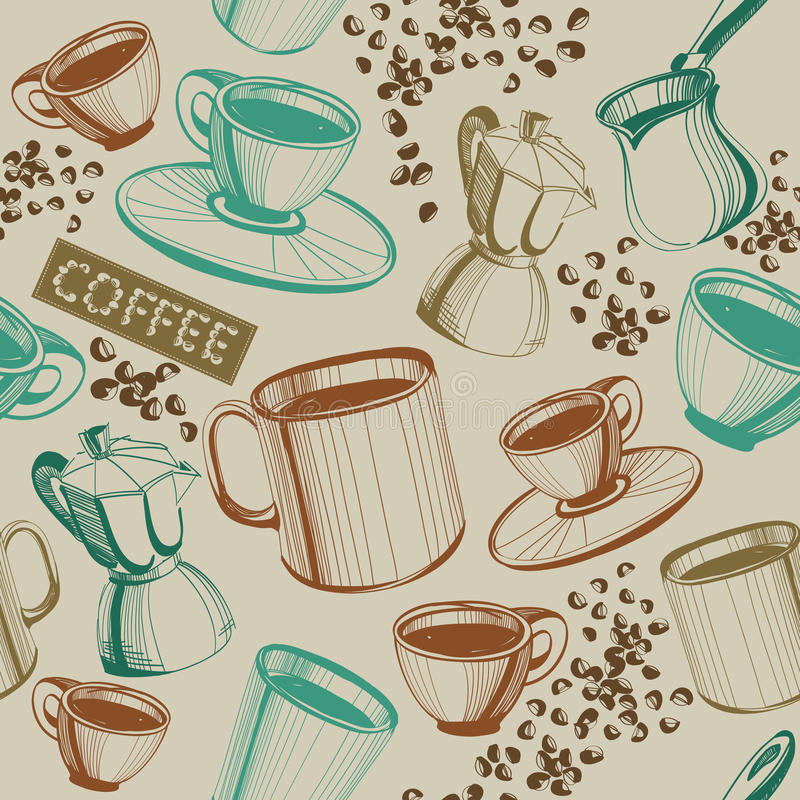 Naadloos uitstekend koffiepatroon royalty-vrije illustratie