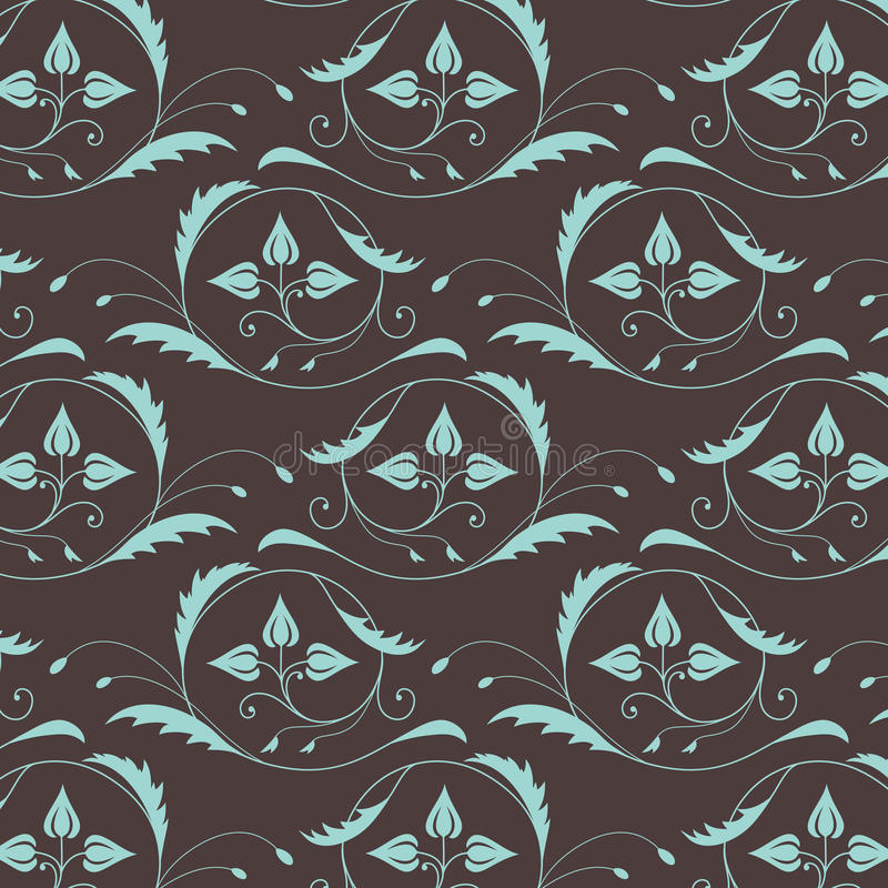 Naadloos uitstekend patroon in blauwbruine kleuren royalty-vrije illustratie