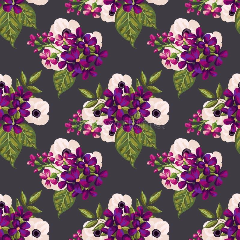 Naadloos uitstekend patroon met geschilderde bloemen vector illustratie