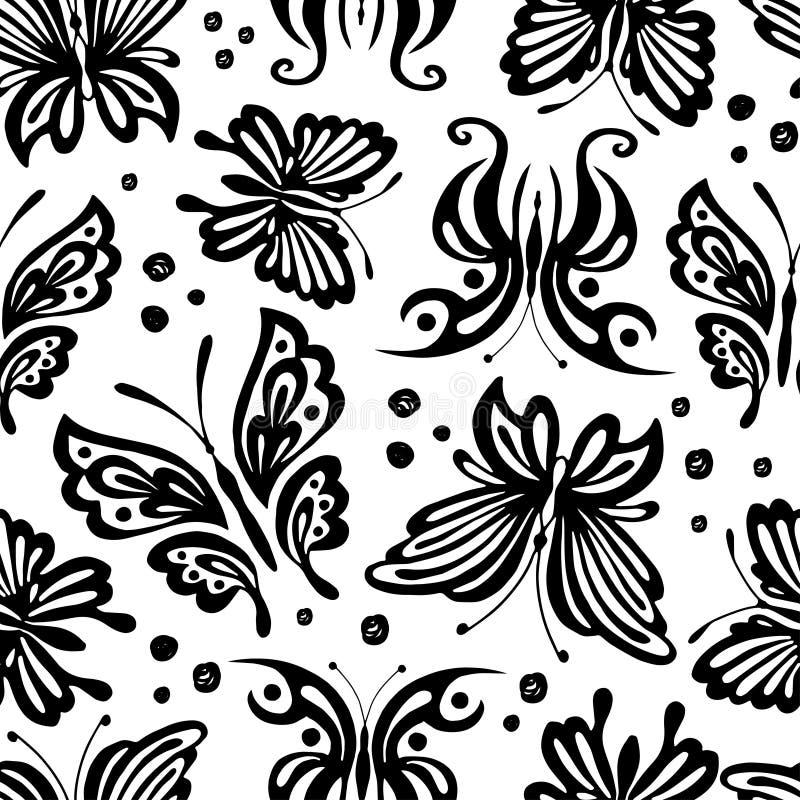 Naadloos uitstekend patroon met zwarte vlinders op een witte achtergrond Zwart-wit achtergrond vector illustratie