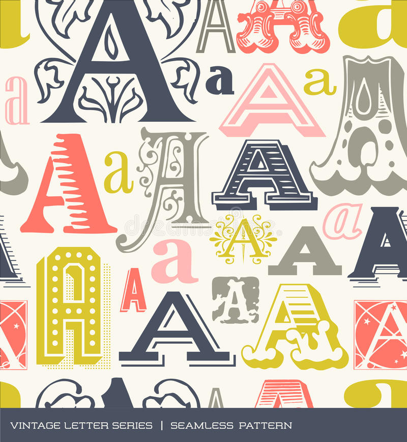 Naadloos uitstekend patroon van de brief A in retro kleuren royalty-vrije illustratie