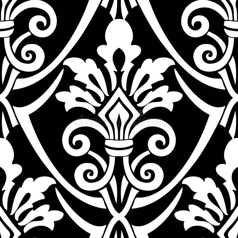 Naadloos Uitstekend Patroon Vector naadloze grens in Victoriaanse stijl Het damast Wallpaper vector illustratie