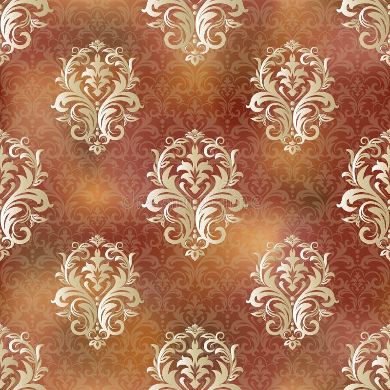 Naadloos Uitstekend Patroon Vector naadloze grens in Victoriaanse stijl Het damast Wallpaper stock illustratie