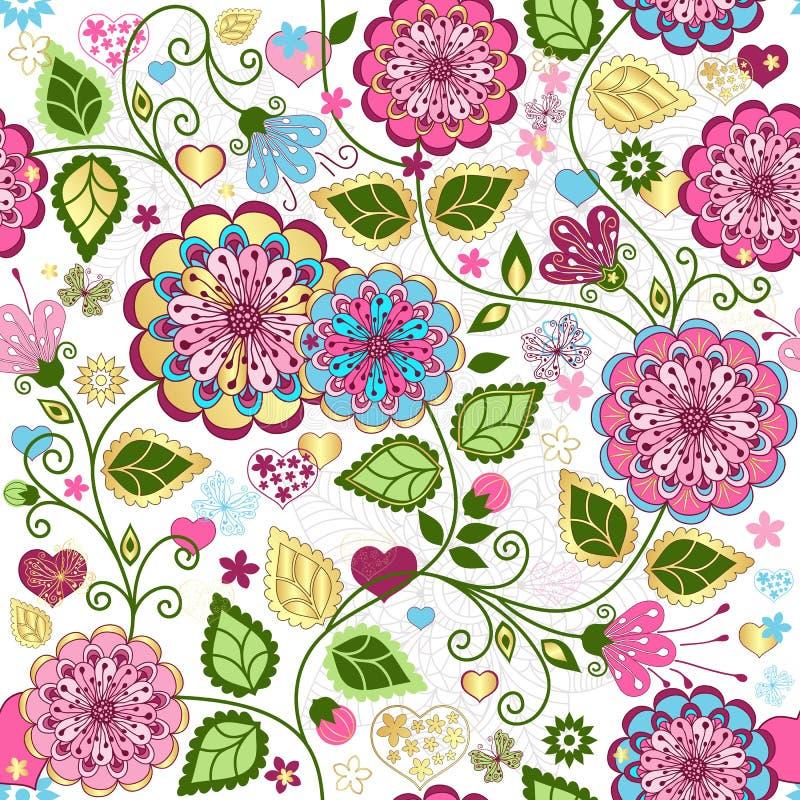 Naadloos valentijnskaart kleurrijk patroon stock illustratie