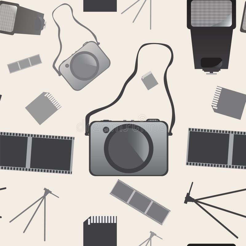 Naadloos van de fotocamera patroon als achtergrond in vector royalty-vrije illustratie