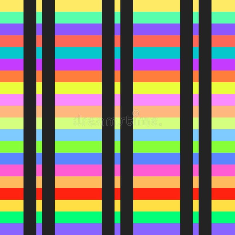 Naadloos van het achtergrond strepenpatroon vector kleurrijk abstract kunst geometrisch horizontaal en verticaal retro uitstekend stock illustratie