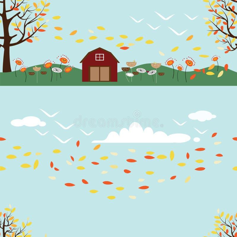 Naadloos van Plattelandslandschap in de herfst, Vectorillustratielandschap stock fotografie
