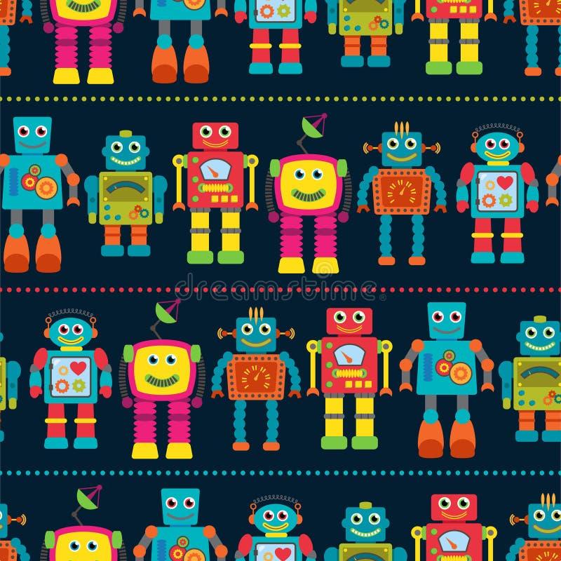 Naadloos van Tileable Vectorpatroon Als achtergrond met Leuke Robots stock illustratie