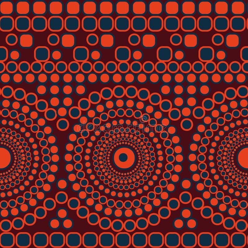 Naadloos vector abstract mozaïekpatroon met cirkels en vierkanten die strepen en mandalas vormen vector illustratie