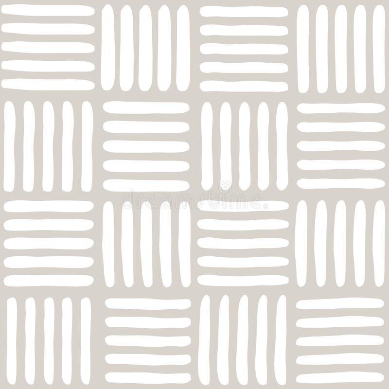 Naadloos vector abstract patroon met hand getrokken vierkanten met inbegrip van stroken en kolommen als achtergrond of textuur vector illustratie