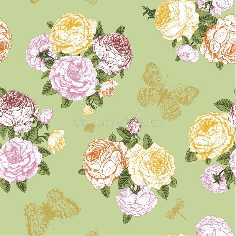 Naadloos vector bloemen uitstekend patroon vector illustratie