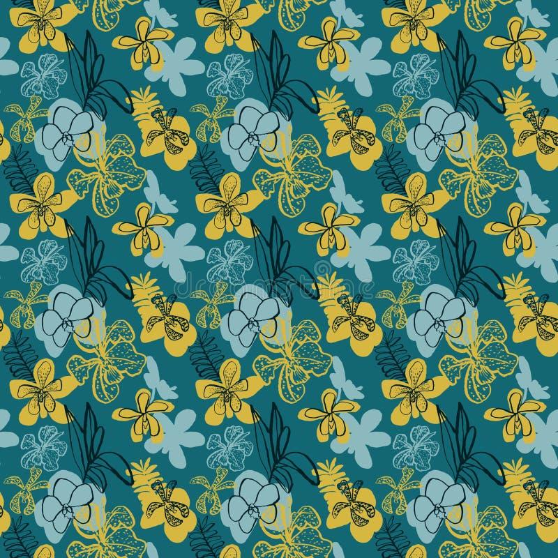 Naadloos vector bloemenpatroon met tropische orchideeën stock illustratie