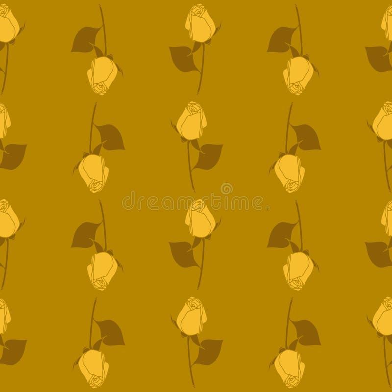 Naadloos vector bloemenrozenpatroon Oker, gouden en gele kleuren stock illustratie