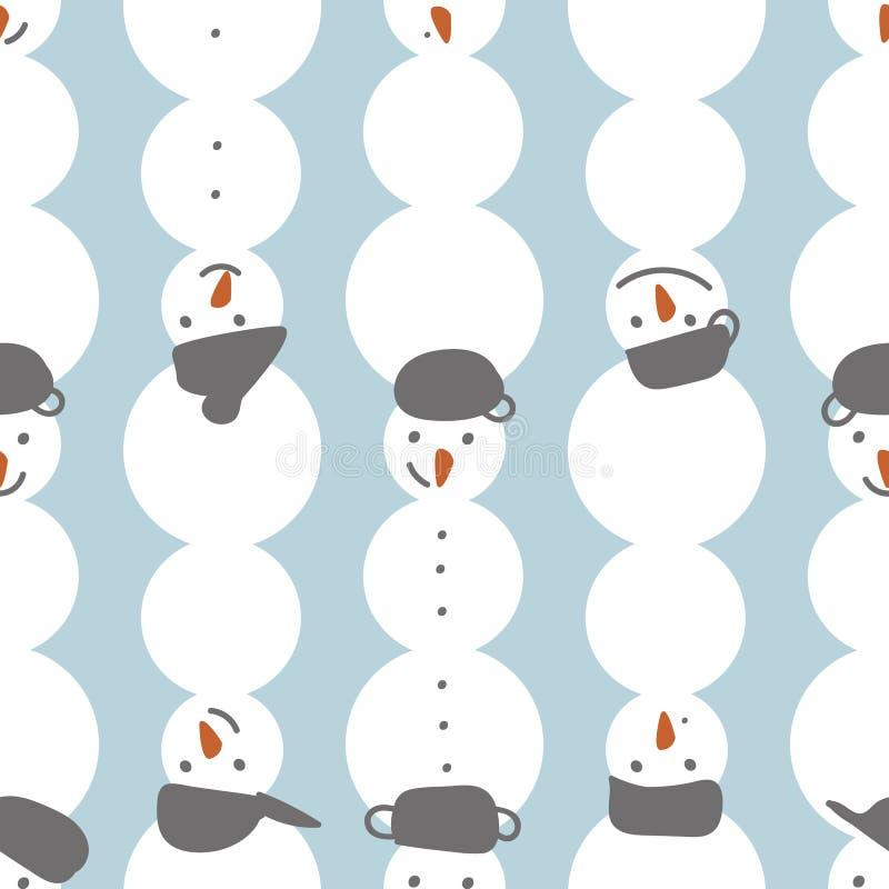 Naadloos vector de winterpatroon met rijen van sneeuwman stock illustratie